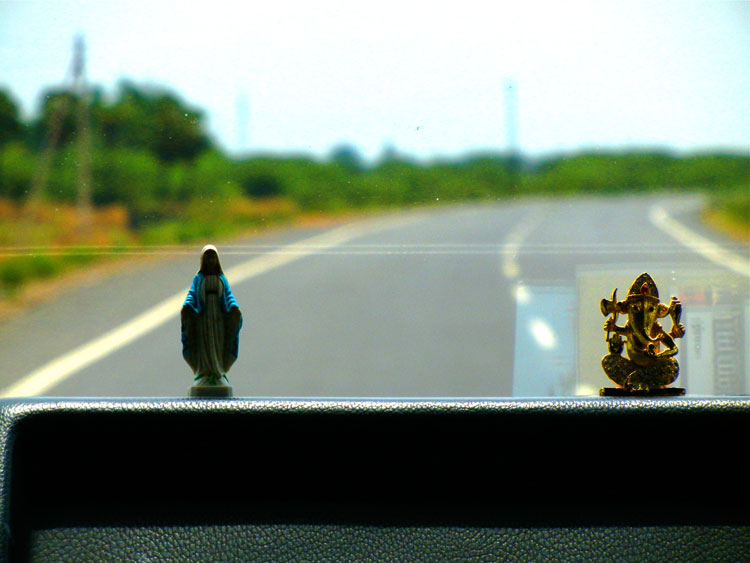 Mary and Ganesha on the Dashboard