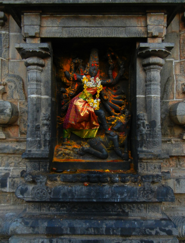When you walk in through the East Gopuram of the great Nataraja Temple of Chidambaram, and turn immediately to the right, you will see this shrine to Durga as Mahishasuramardini, the Slayer of the Buffalo Demon tucked into the wall. She is constantly tended to, even though she has her own separate shrine elsewhere on the temple grounds. Whenever I first pass through, I say hello to her before I proceed into the temple!